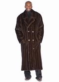 Mens Mahogany Mink Coat - Double Breasted Coat