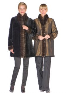 Reversible Bronze Sheared Mink Jacket- Sable Trim