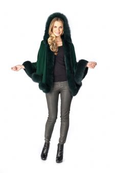 Forest Green Cashmere Short Hooded Cape Fox Trim
