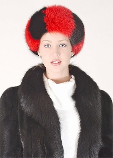 Headband - Red and Black Fox Fur Headband