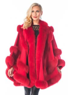 Red Cashmere Cape - Empress Style
