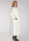 Plus Size White Fur Rabbit Coat Mandarin Collar