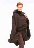 Cashmere Cape Dark Brown -  Fox Trim - Majestic