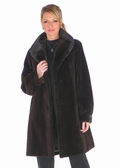 Sheared Mink Jacket-Mahogany Mink Shawl Collar