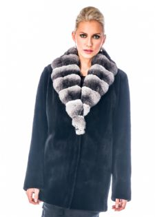 BlackSheared Mink Jacket Chinchilla Collar