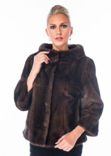 Mink Jacket Boat Neck - Soft Brown