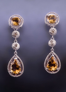 Diamond and Citrine Double Drop Earrings