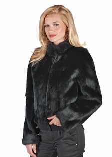 Black Zippered Short Jacket-Black Rabbit Fur