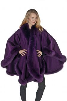 Cashmere Plus Size Fox Trimmed Cape- Purple Plum