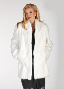 White Fur Rabbit Jacket  - Mandarin Collar