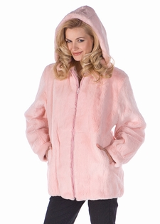 Hooded Fur Parka-Pink Rabbit-Detachable Hood
