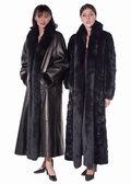 Leather Reversible Fur Coat - Fox Trimmed