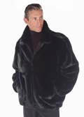 Mens Ranch Mink Zippered Bomber Jacket -Full Pelts