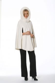 Cashmere Opera Cape-Winter White Fox Trim 35