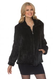 Knitted Mink Jacket - Midnight Black - Zippered