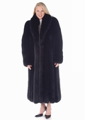 Fox Fur Coat - Black Fox Fur Coat Plus Size