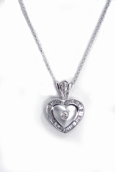 Diamond Heart Baguette Pendant Necklace