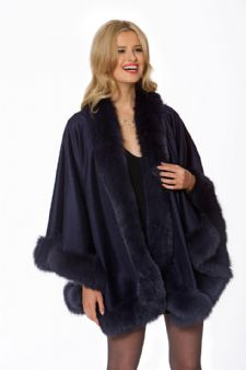 Cashmere Cape - Navy Fox Trimmed - Your Lady