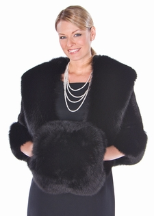 Black Fox Fur Muff - Black Fox Fur Handwarmer Muff