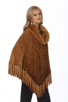 Knitted Mink - Poncho Cape - Golden Dyed