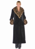 Sable Trimmed Sheared Mink Fur Coat