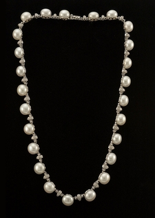 Diamond and Pearl Necklace - Diamond Rondells