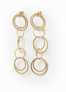 Gold Dangle Earrings - Cascade of Circles