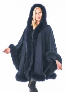 Navy 100% Cashmere Cape - Detachable Hood