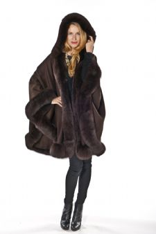 Brown Cashmere Cape - Detachable Hood