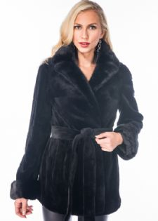 Sheared Mink Fur Jacket-Black Mink Notch Collar