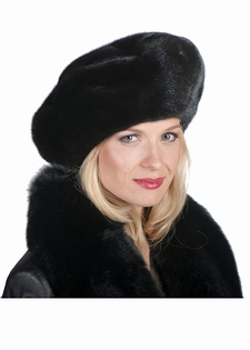 Mink Fur Hat-Black Mink Large Mink Beret