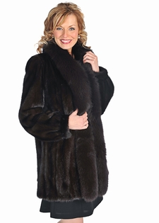 Mahogany Mink Fur Jacket - Dark Brown Fox Trimmed