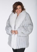 Natural White Blue Fox Fur Jacket- Plus Size -  29