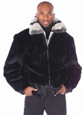 Mens Zippered Rabbit Bomber Jacket - Rex Trim