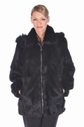 Plus Size Black Fur Rabbit Parka-Detachable Hood