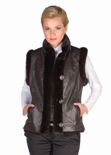 Mink & Leather Vest-Brown Sheared Mink Reversible